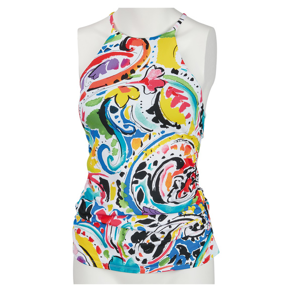 Painterly Paisley - Women's High Neck Tankini Top