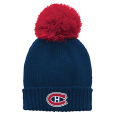 Pink Chunky Cuff Pom - Tuque pour fille - Canadiens de Montréal