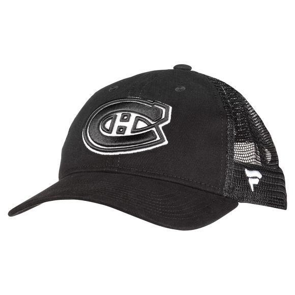 Black and White Brushed Trucker - Adult Adjustable Cap