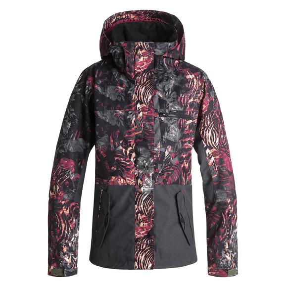 Femme Capuchon Block Sports Jetty Roxy D'hiver Manteau À Pour CXZ0S4wqx
