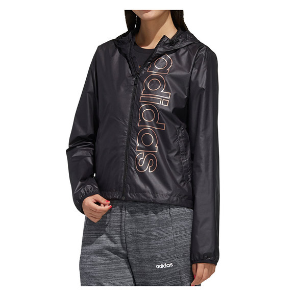 libertad científico Visible  ADIDAS Essentials Branded Windbreaker - Women's Hooded Athletic Jacket    Sports Experts