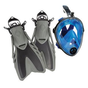 Full Face Kit (Petit/Moyen) - Ensemble de masque de plongée avec tuba intégré et palmes pour adulte